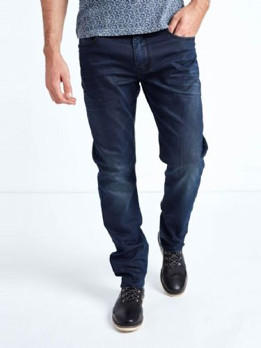 Mish Mash Mens Jeans Navy Resin Tapered Fit Stretch